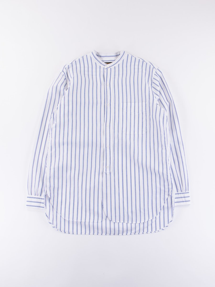 Blue Stripe Banded Collar Shirt