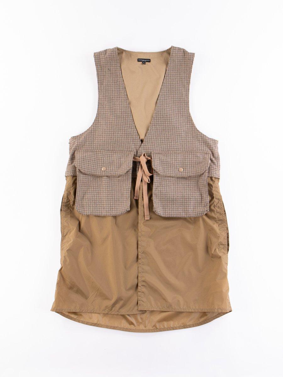 Brown Wool Poly Gunclub Check Long Fowl Vest