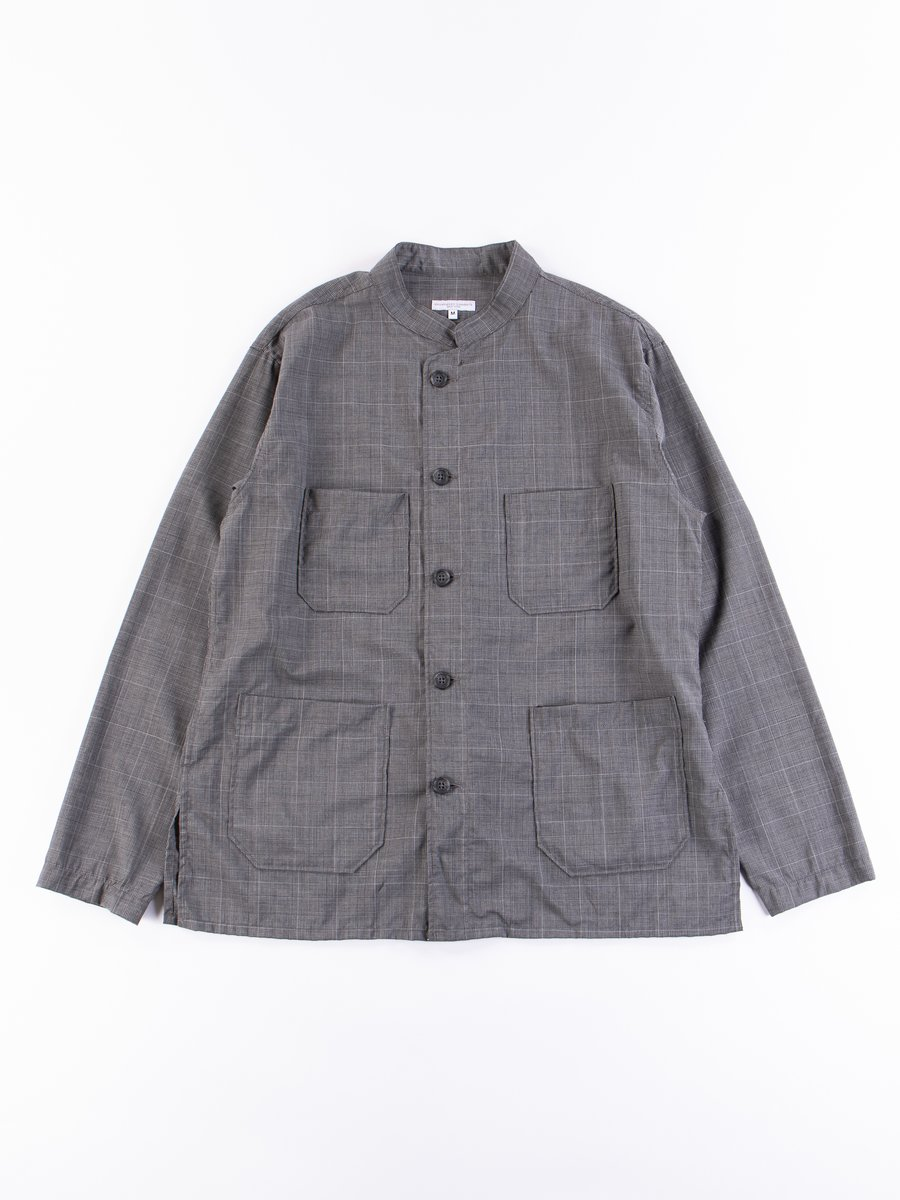 Grey Tropical Wool Glen Plaid Dayton Shirt