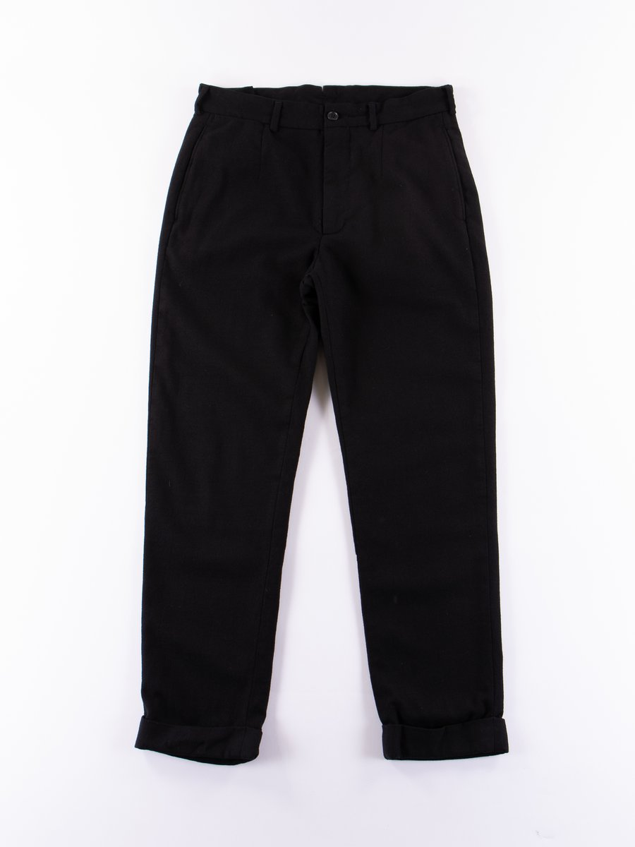 Black Worsted Wool Flannel Andover Pant