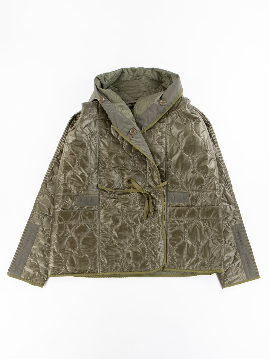 Khaki Quilted Lining Ring Coat