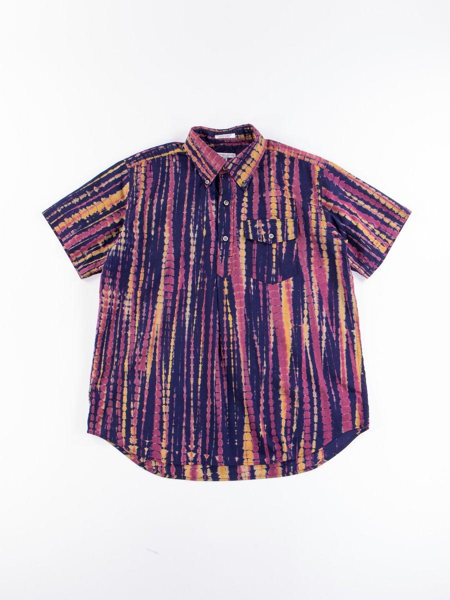 Navy Cotton Lawn Batik Stripe Popover BD Shirt