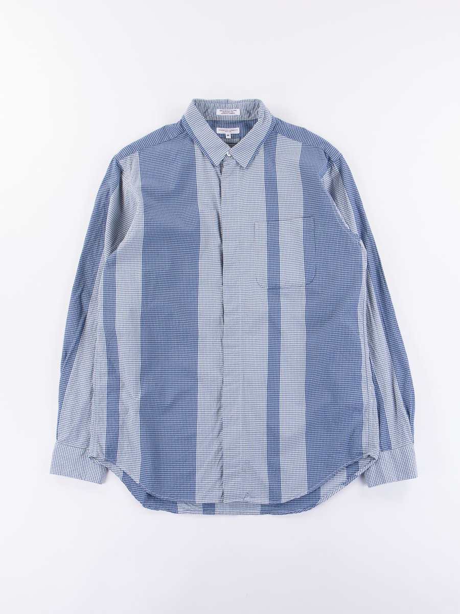 Navy/Light Blue Mini Gingham Big Stripe Short Collar Shirt