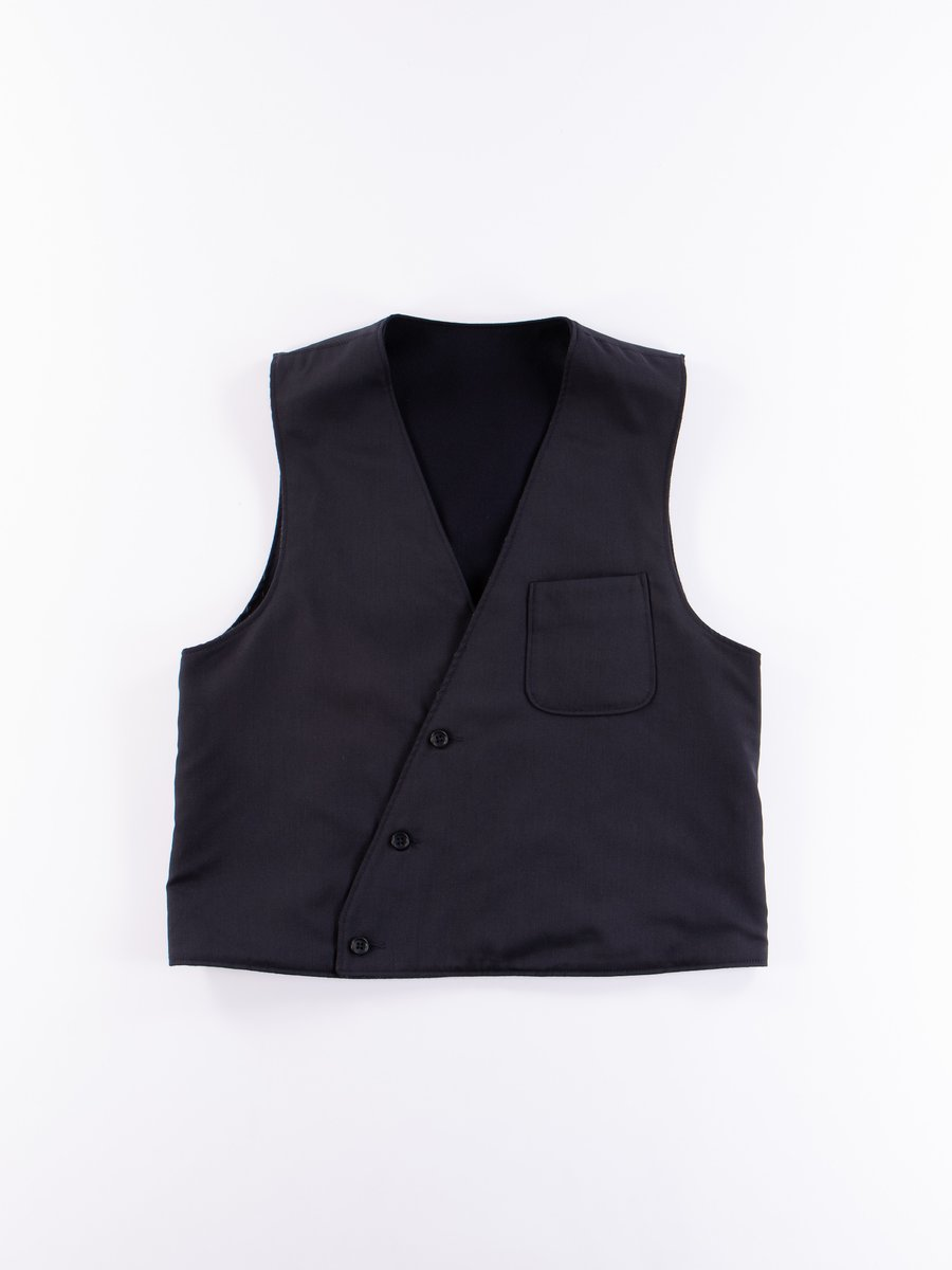 Dark Navy Worsted Wool Gabardine Reversible Vest