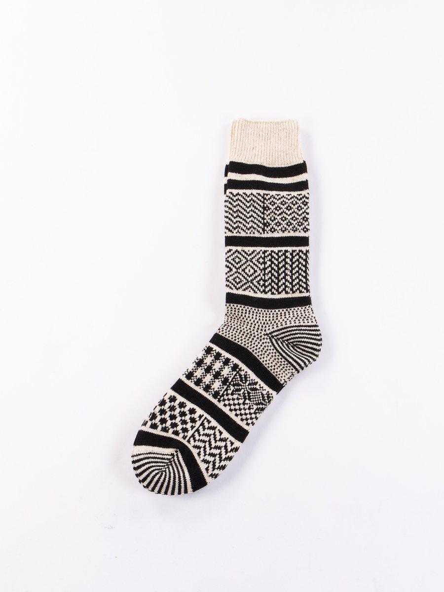 Ivory/Black Multi Jacquard Crew Socks