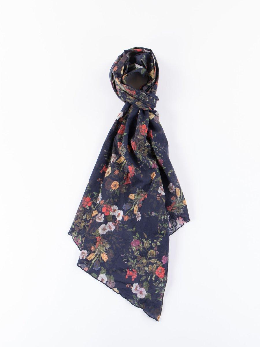 Dark Navy Big Floral Sheeting Long Scarf