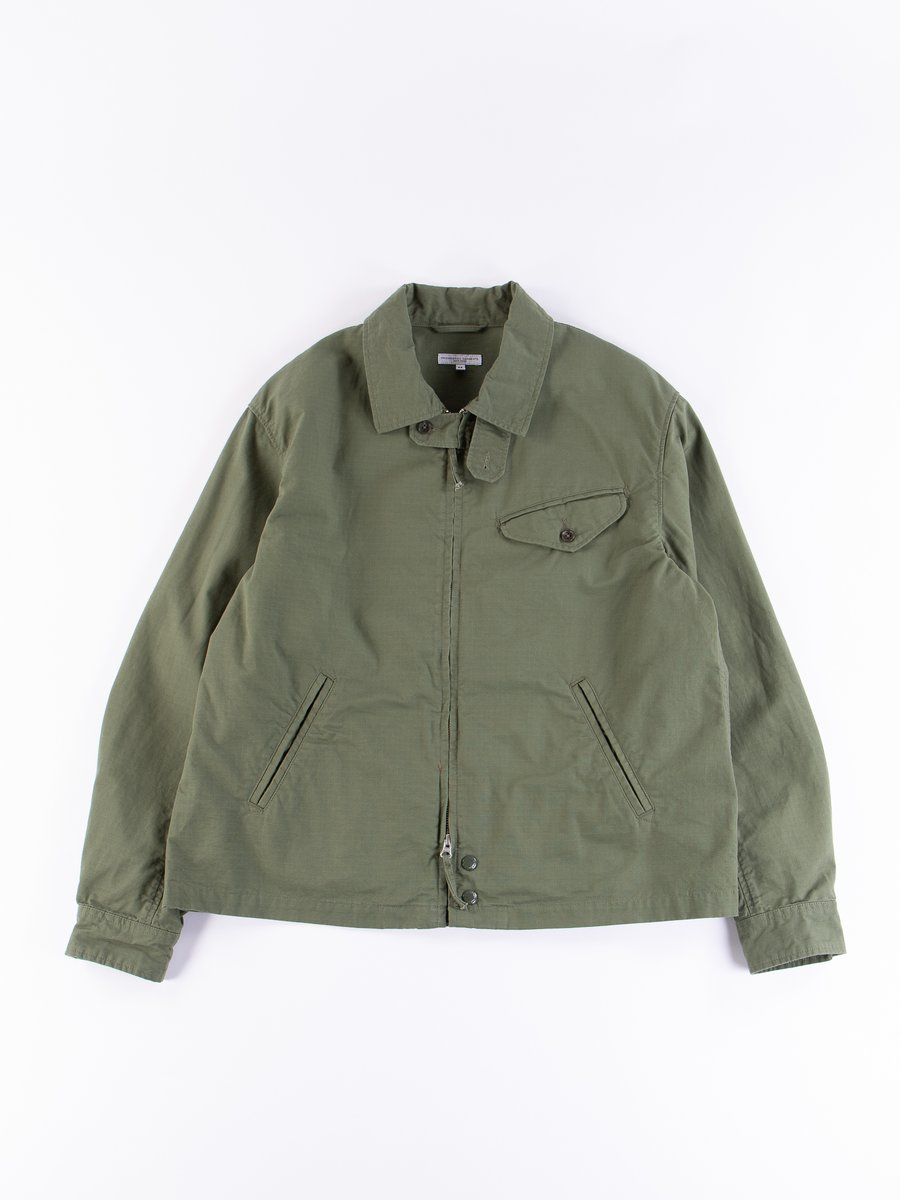 Olive Cotton Ripstop Driver Jacket