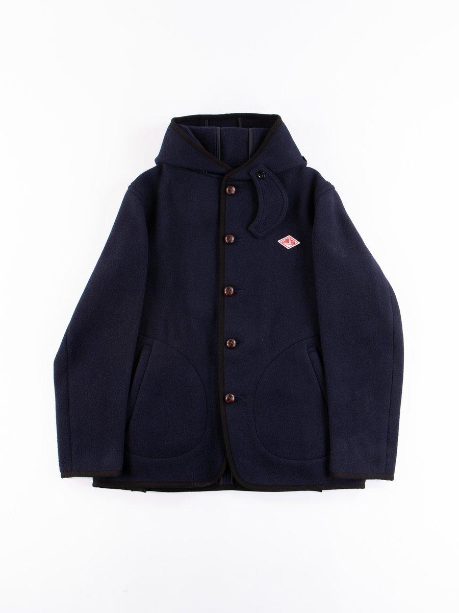 Navy Mossa Wool Single Hooded Jacket