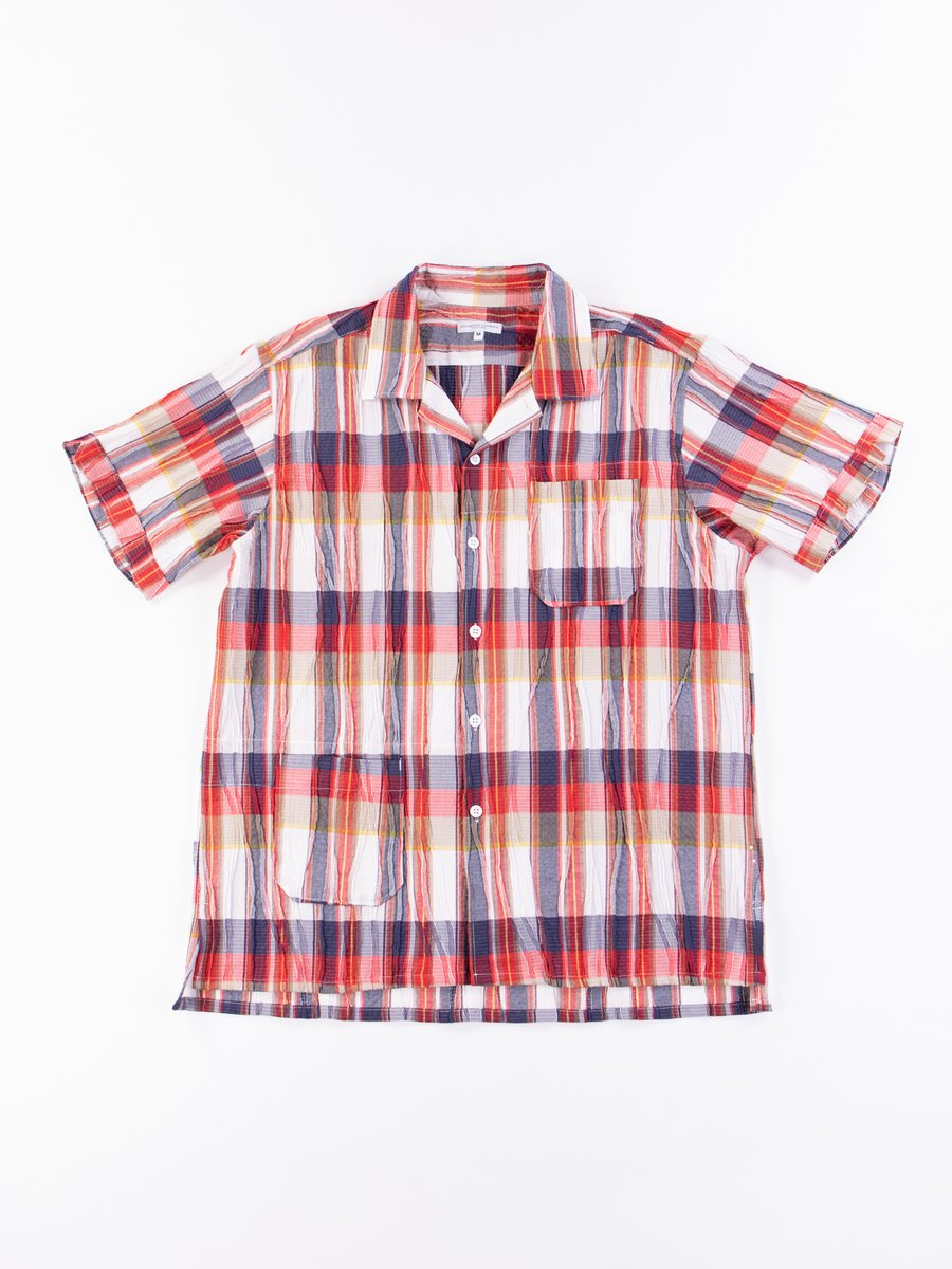 Red/White Cotton Crepe Check Camp Shirt