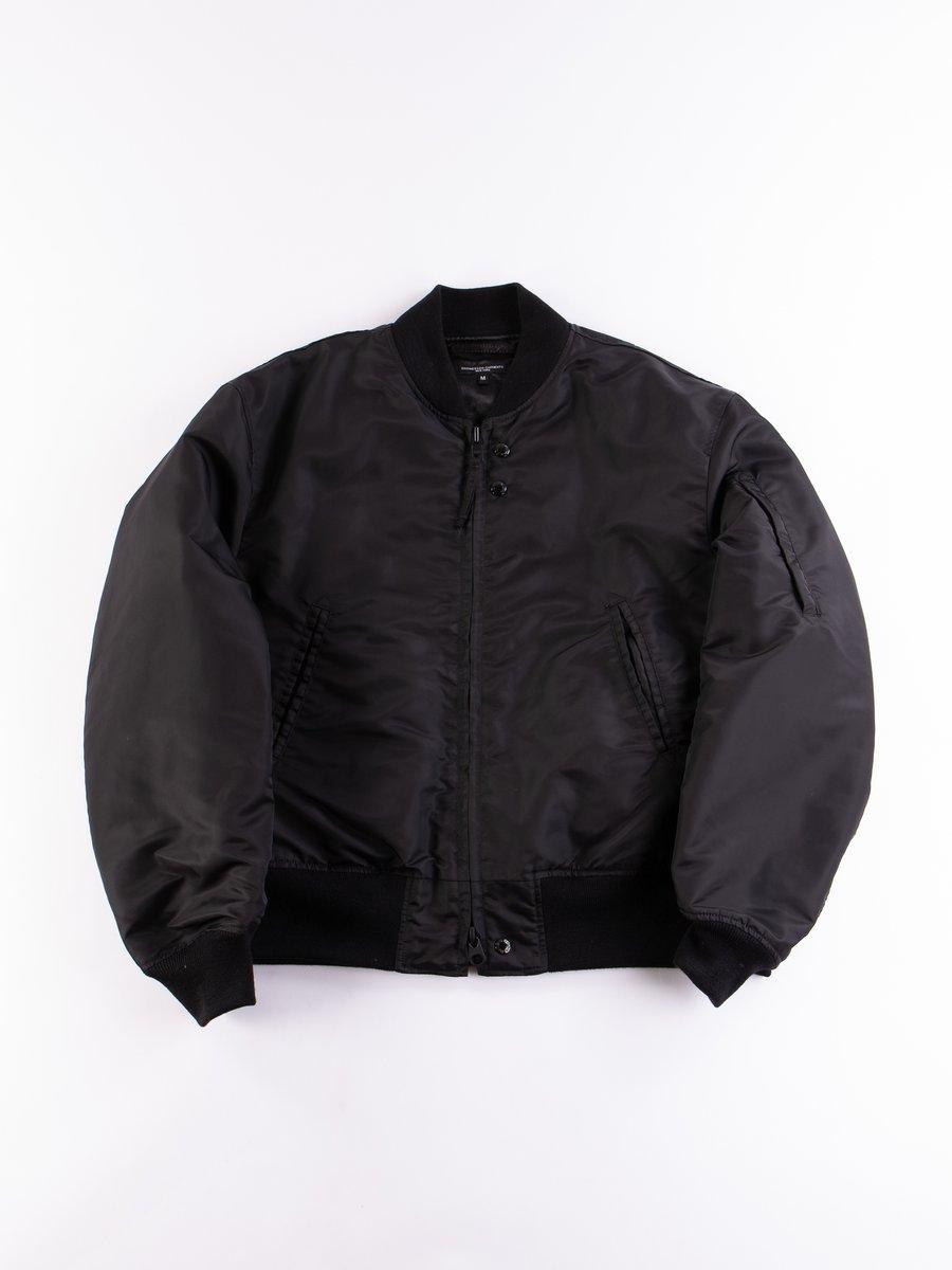 Black Flight Satin Nylon Aviator Jacket