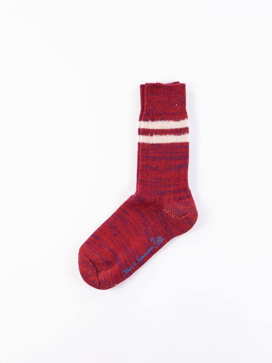 Dark Red/Natural S75 Wool Striped Sport Sock
