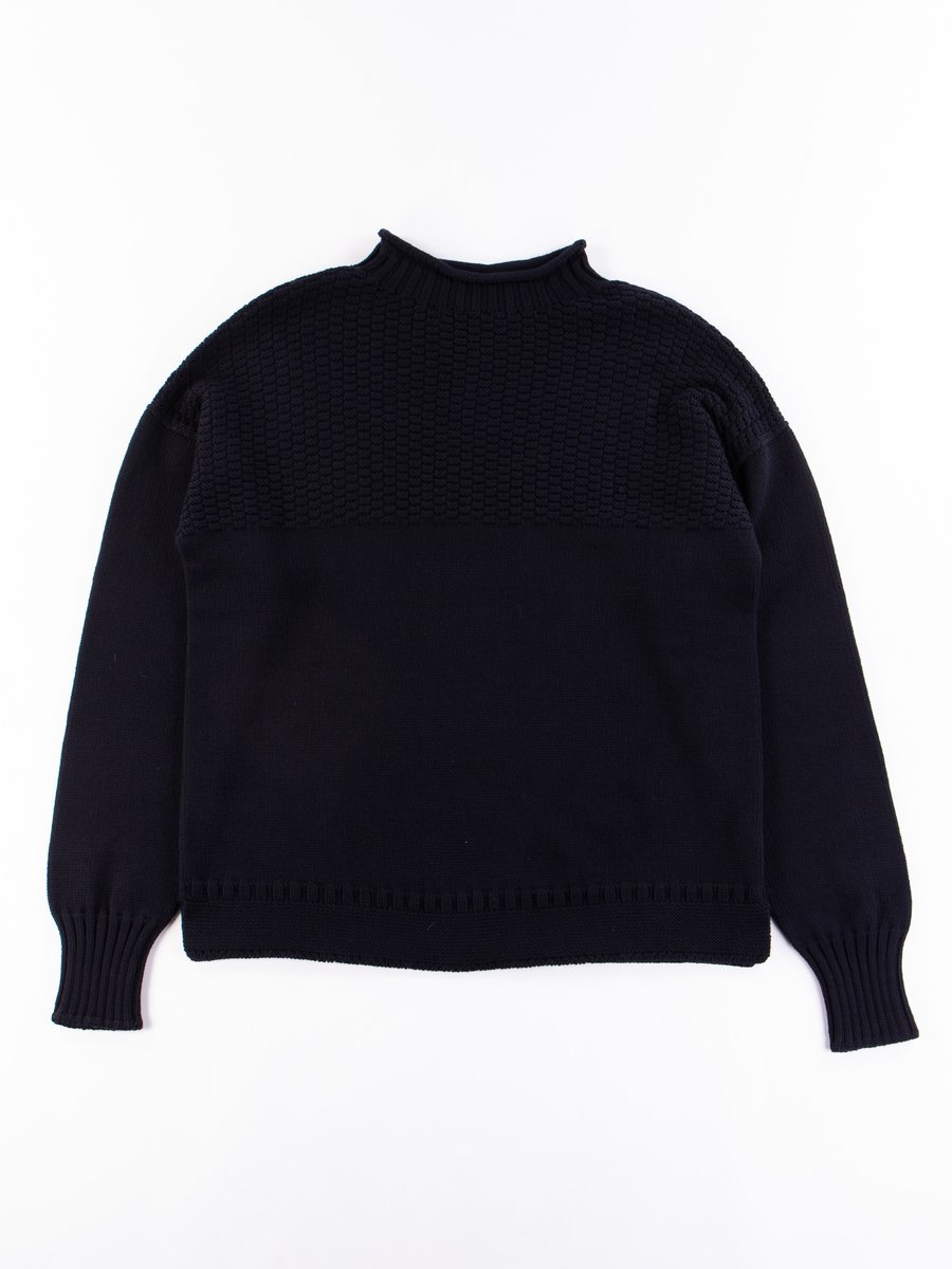 Dark Navy Multi End Seamless Wool Sweater