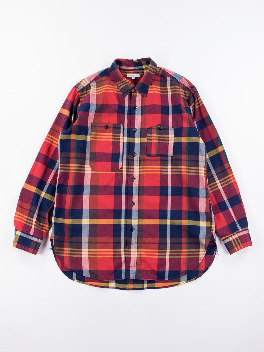 Red/Navy Cotton Big Madras Plaid Work Shirt