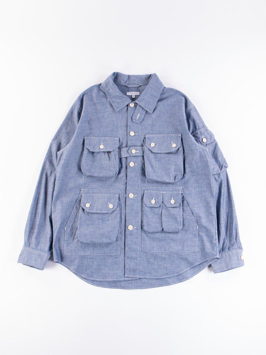 Blue Cotton Chambray Explorer Shirt Jacket