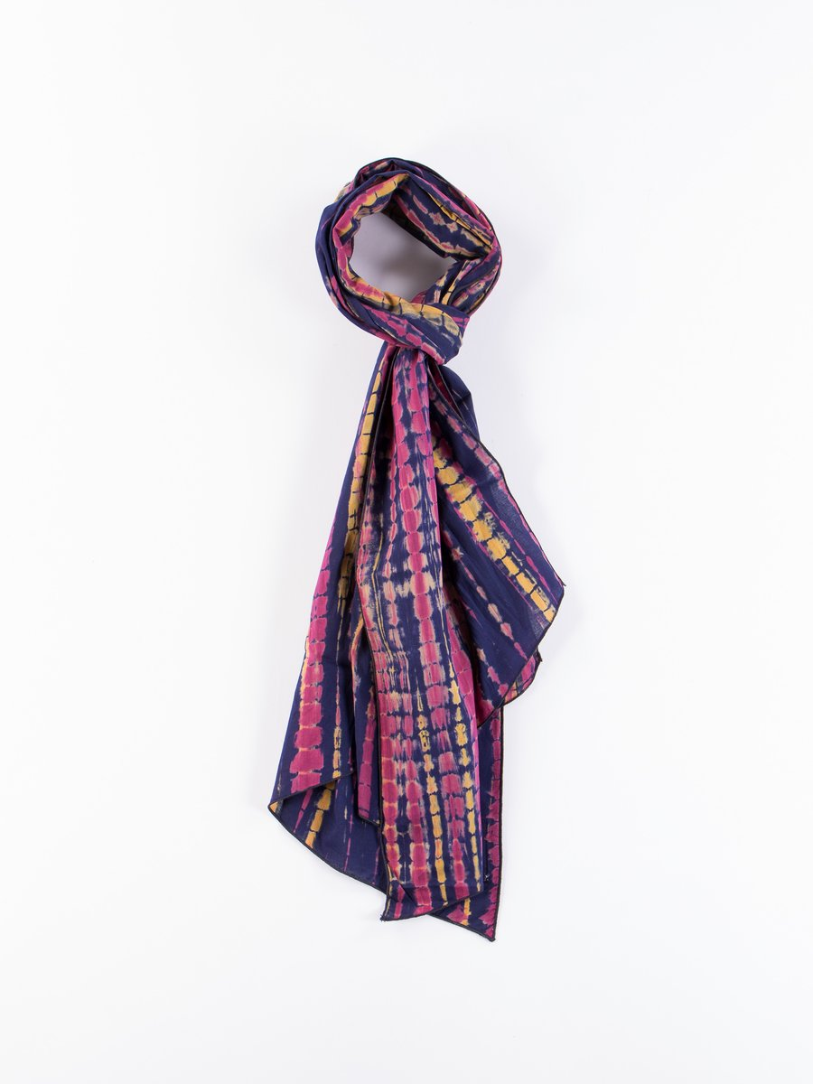Navy Cotton Lawn Batik Long Scarf