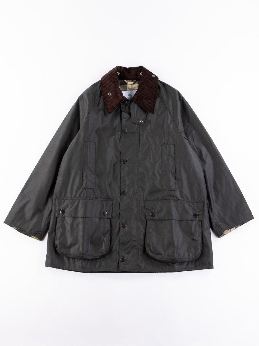 Sage Oversized Beaufort Waxed Cotton Jacket