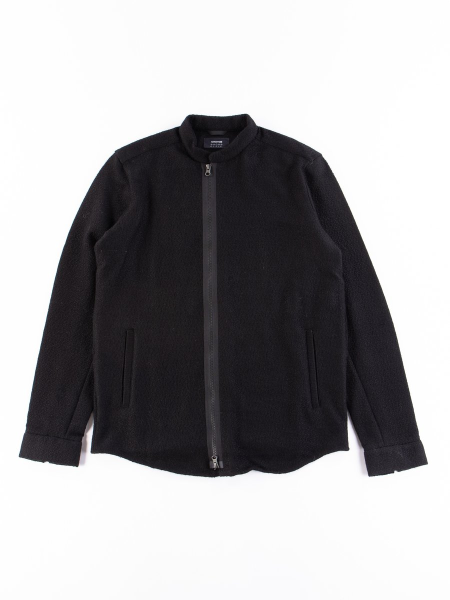 LA8–AK Black Cashlama Long Sleeve Zip Shirt Jacket