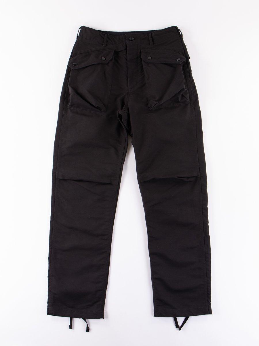 Black Cotton Double Cloth Norwegian Pant