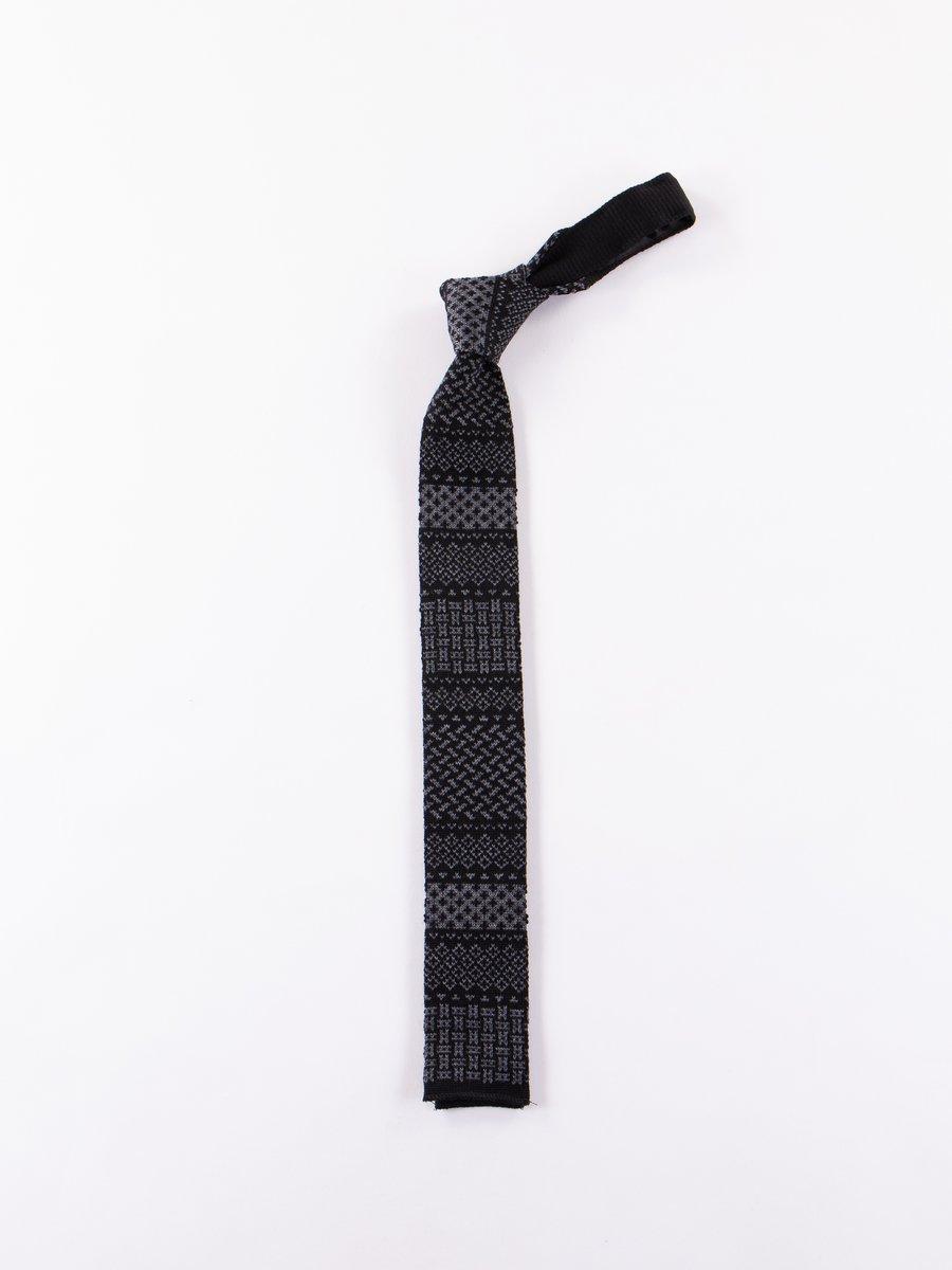 Black/Grey Ethnic Jacquard Knit Tie