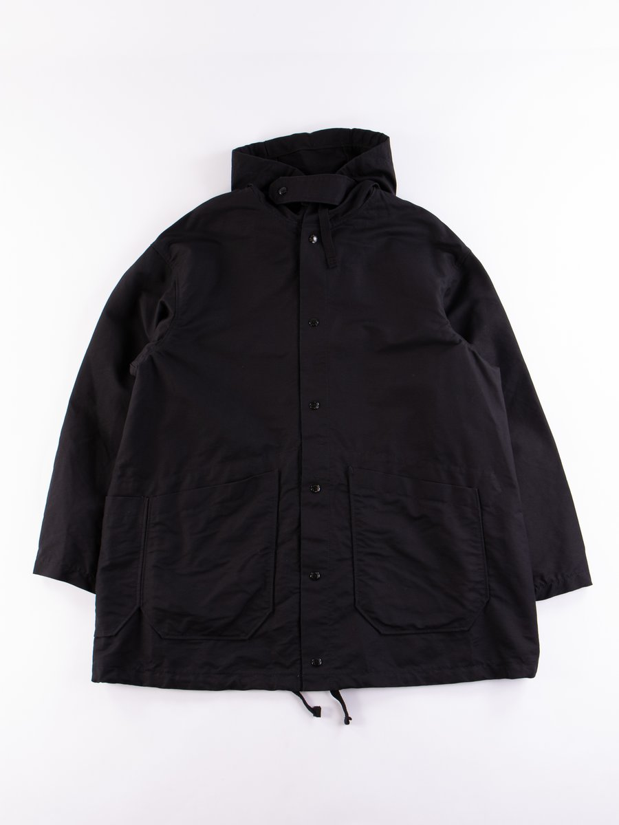 Black Cotton Double Cloth Madison Parka