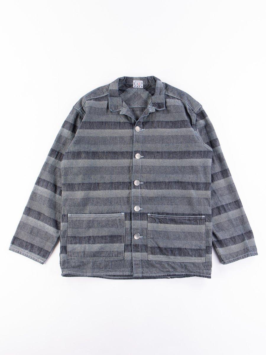 Rinse Washed Indigo Weaver's Blanket Stripe Floor Shirt