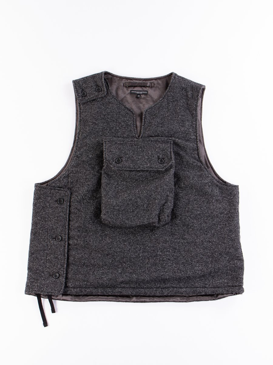 Grey Wool Blend Homespun Cover Vest