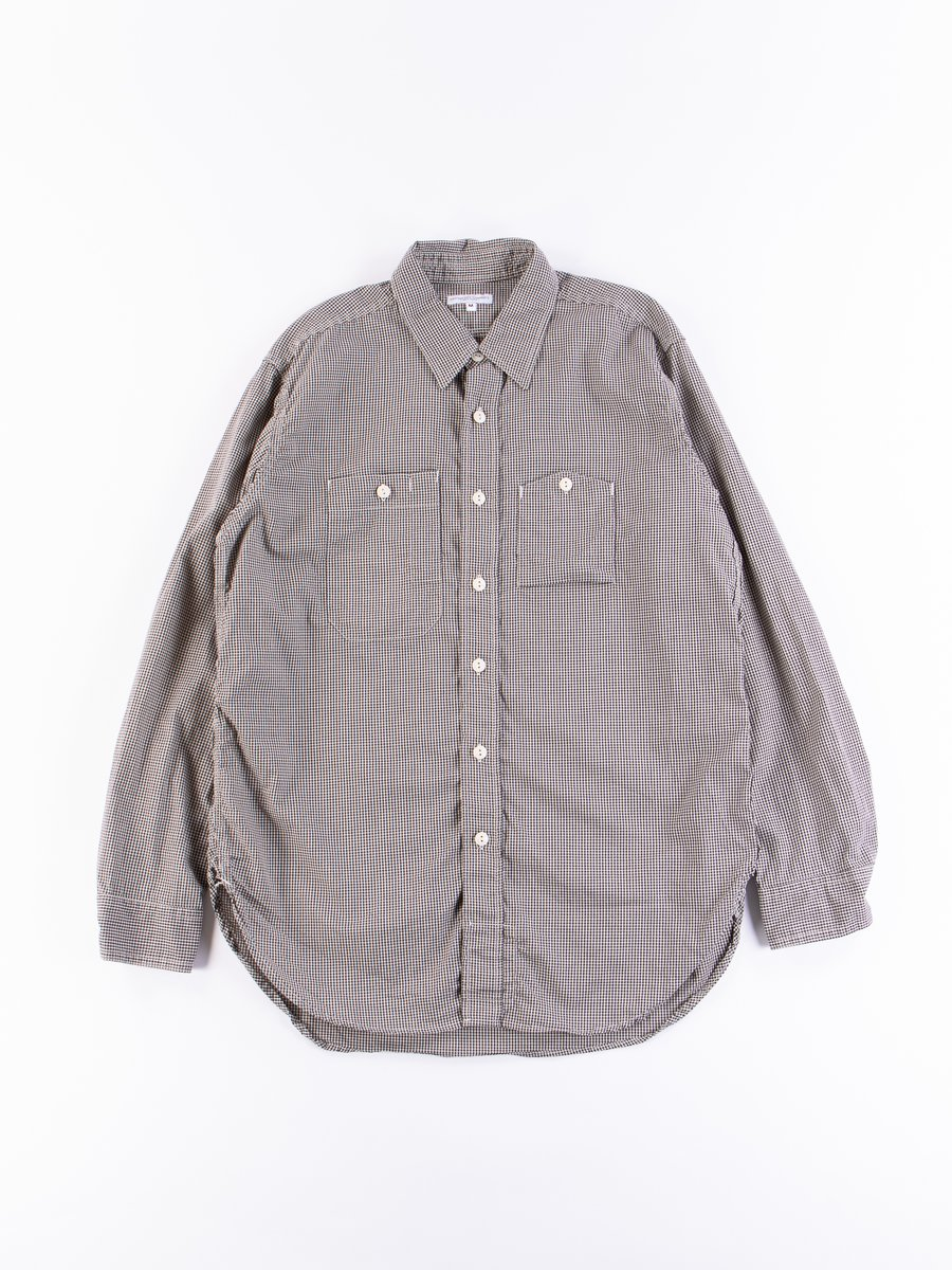 Dark Navy Small Gingham Cotton Broadcloth Work Shirt