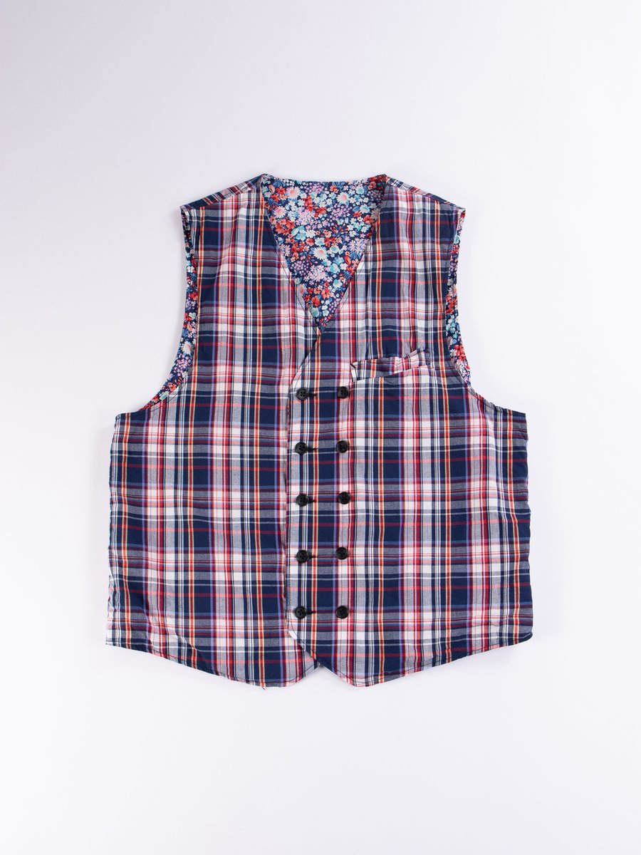Navy/White/Red Plaid Poplin Reversible Vest
