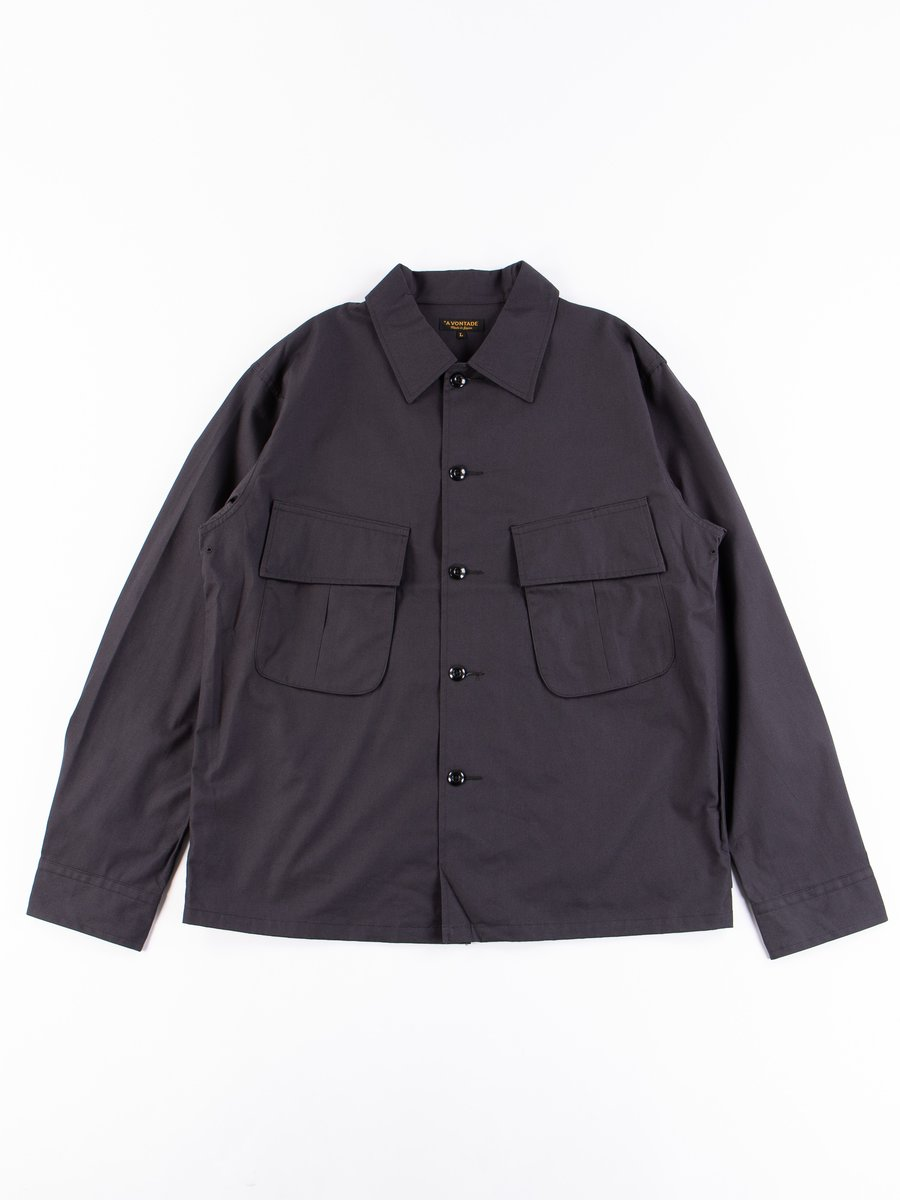Fade Black Selvedge Poplin Cotton Combat Short Jacket