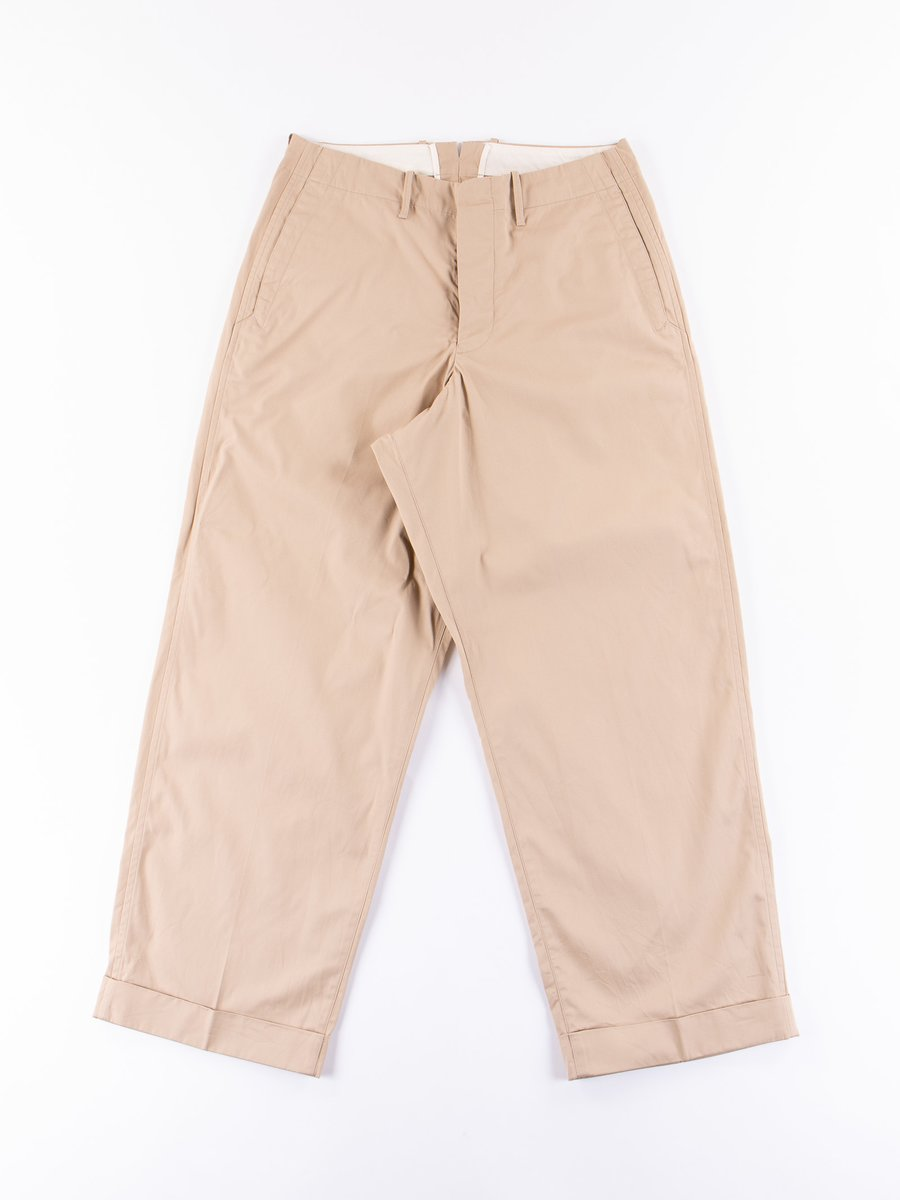 Beige Compact Twill Wide Pants