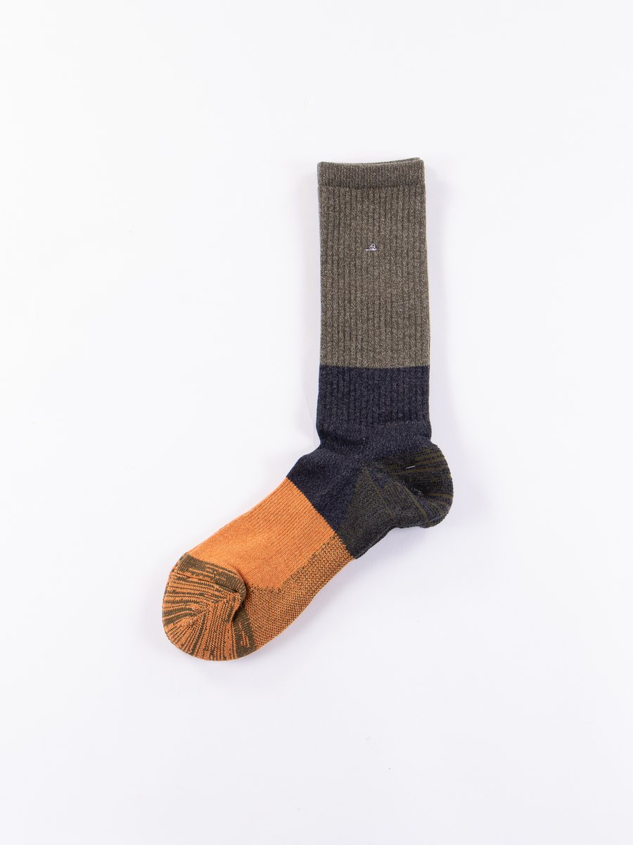 Moss/Navy Block Knit Socks