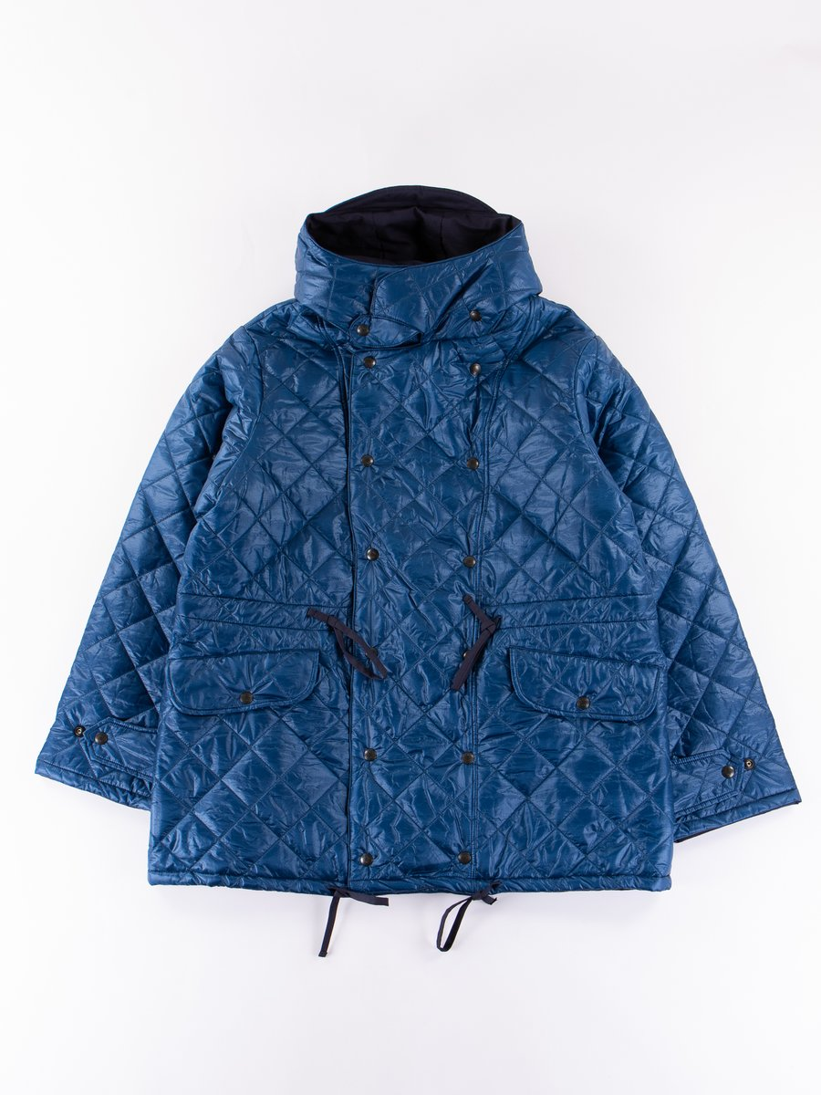 Navy 3oz Zigzag Dotera Fill Hooded Quilted Jacket