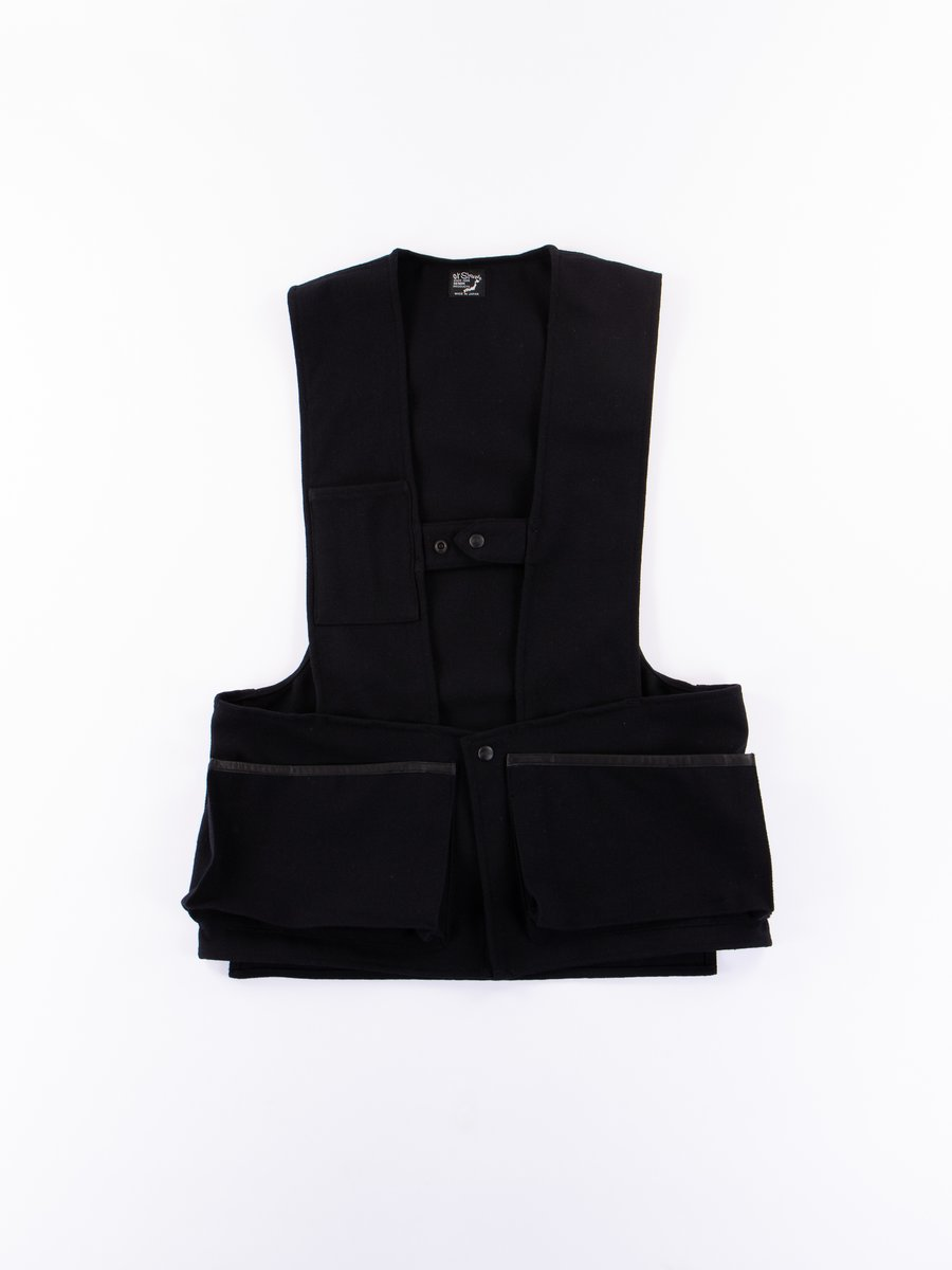 Black Melton Wool Herringbone Twill Hunting Vest
