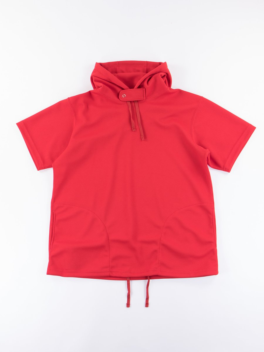 Red 7.75oz Diamond Knit Short Sleeve Hoody