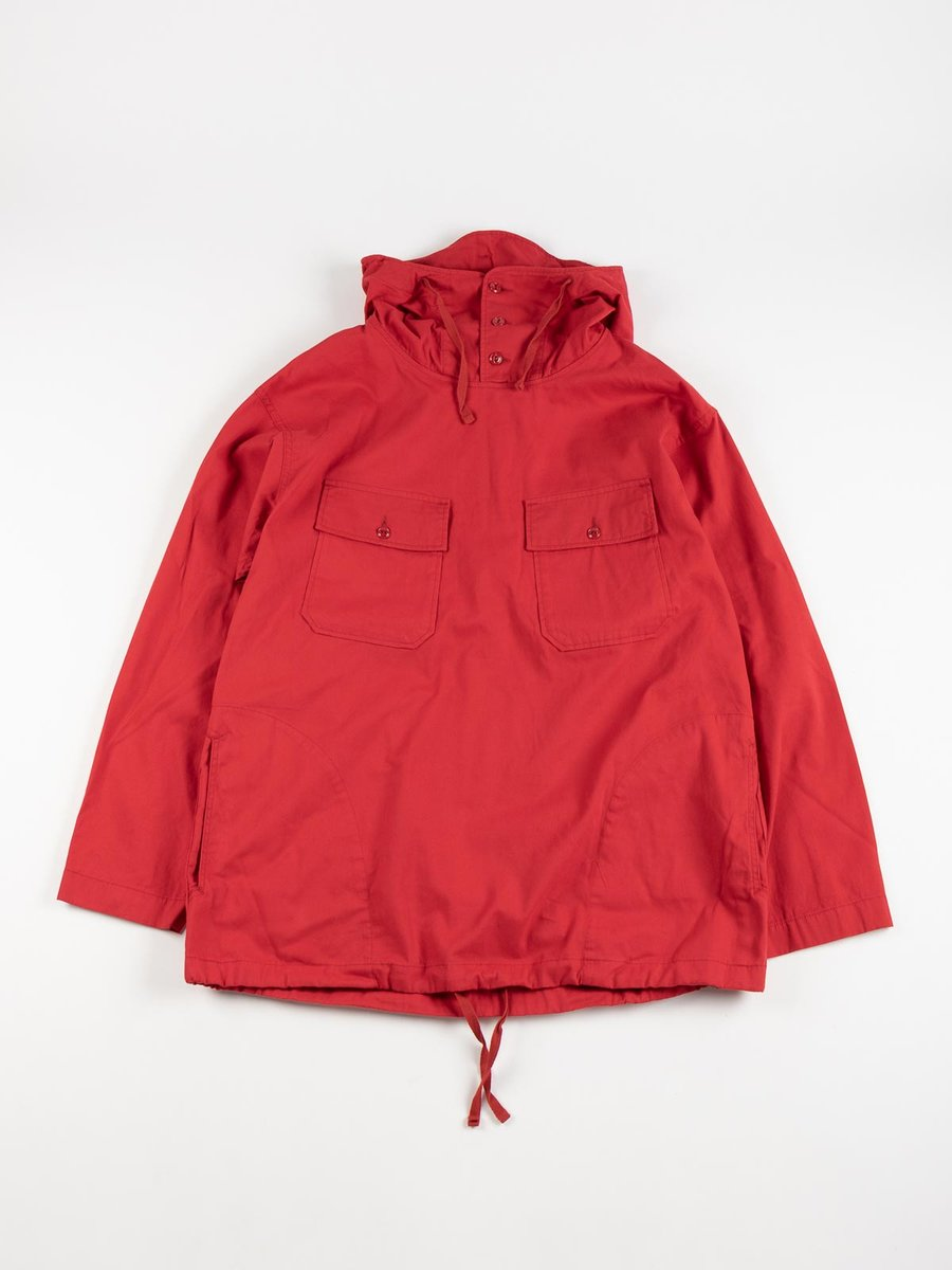 CAGOULE SHIRT RED COTTON MICRO SANDED TWILL