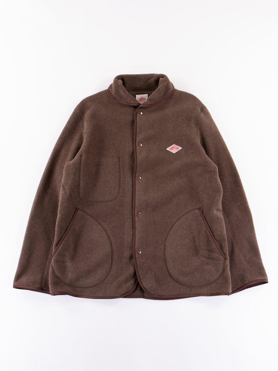 Brown Fleece Shawl Collar Jacket