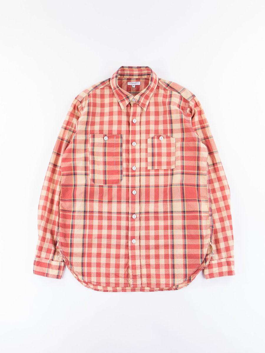 Orange/Yellow/Navy Big Plaid Madras Work Shirt