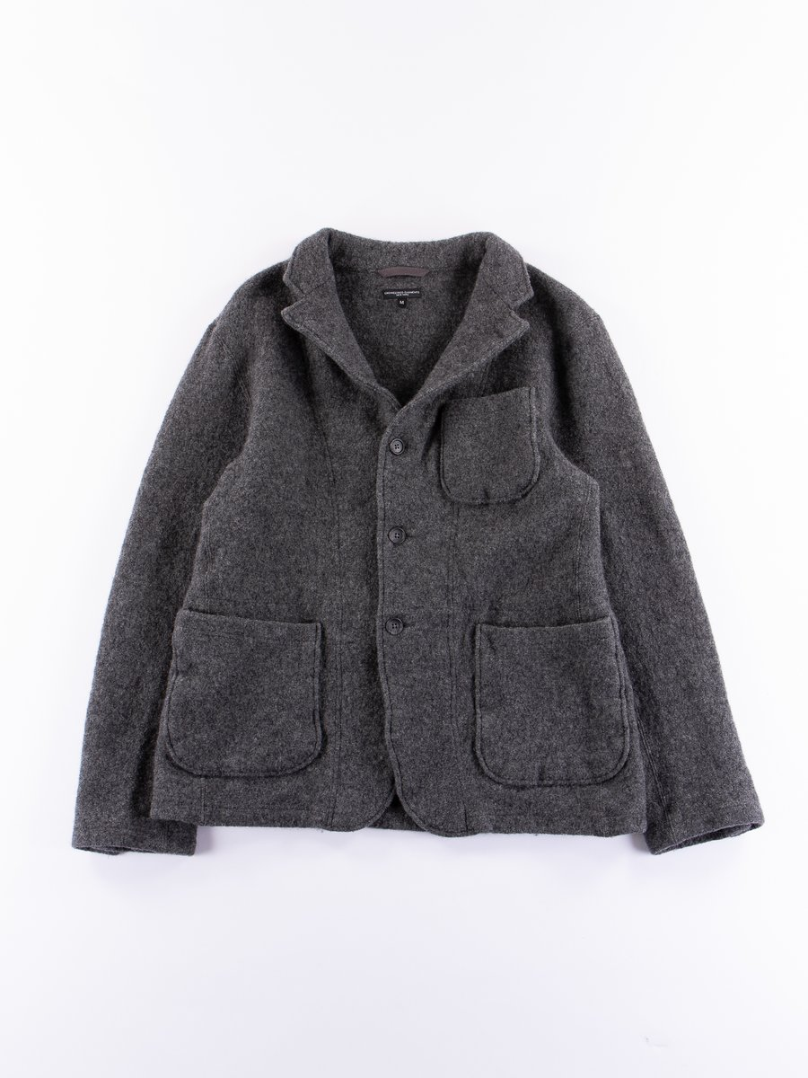 Grey Boiled Wool Knit Jacket