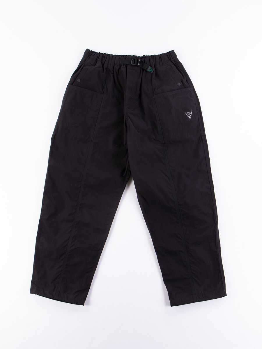Navy Wax Coating Belted Center Seam Pant