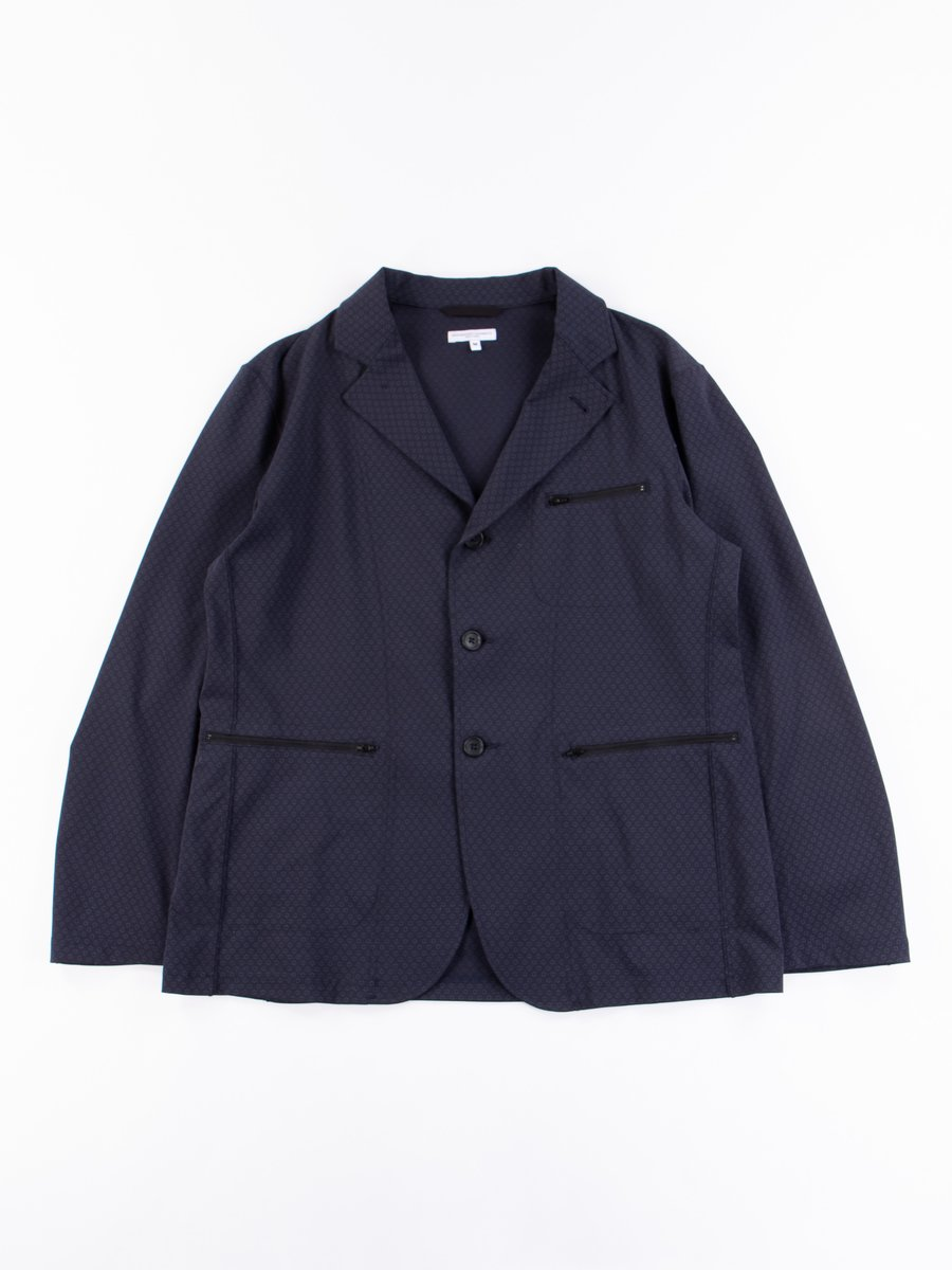 Dark Navy Foulard Jersey Knit Leisure Jacket