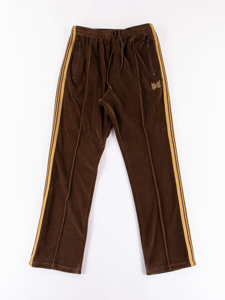Brown Velour Narrow Track Pant