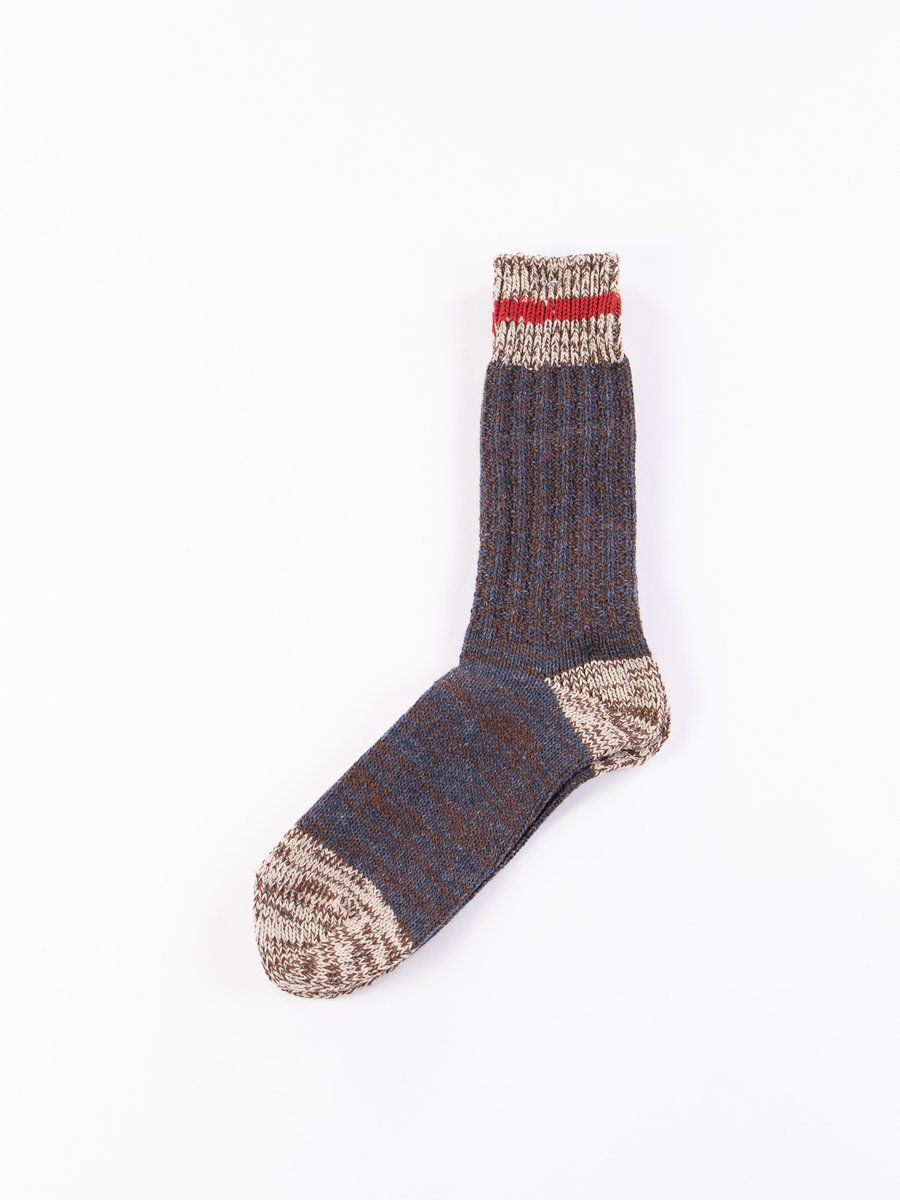 Dark Navy Cotton/Wool Mix Stripe Crew Socks