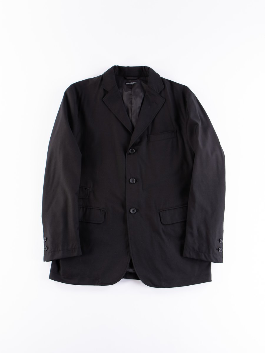 Black Worsted Wool Gabardine Lawrence Jacket