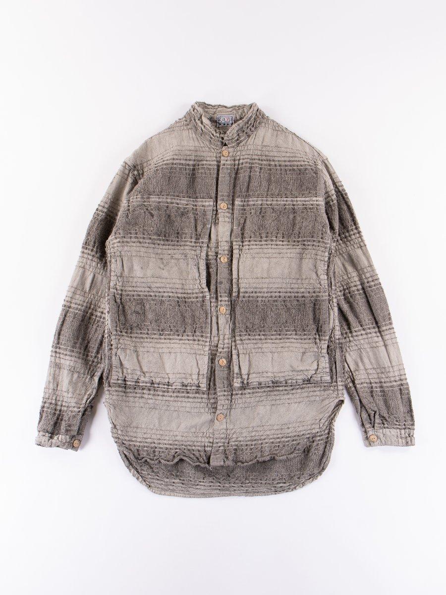 Indian Black Dye Doppler Stripe Calico Periscope Pocket Tail Shirt