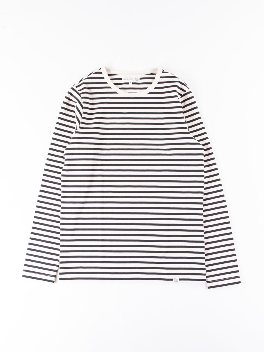 Natural/Charcoal Stripe 2M12 Crew Neck Long Sleeve Tee