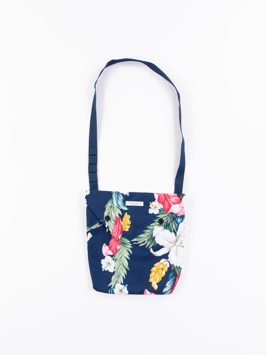 Navy Hawaiian Floral Microfiber Shoulder Pouch
