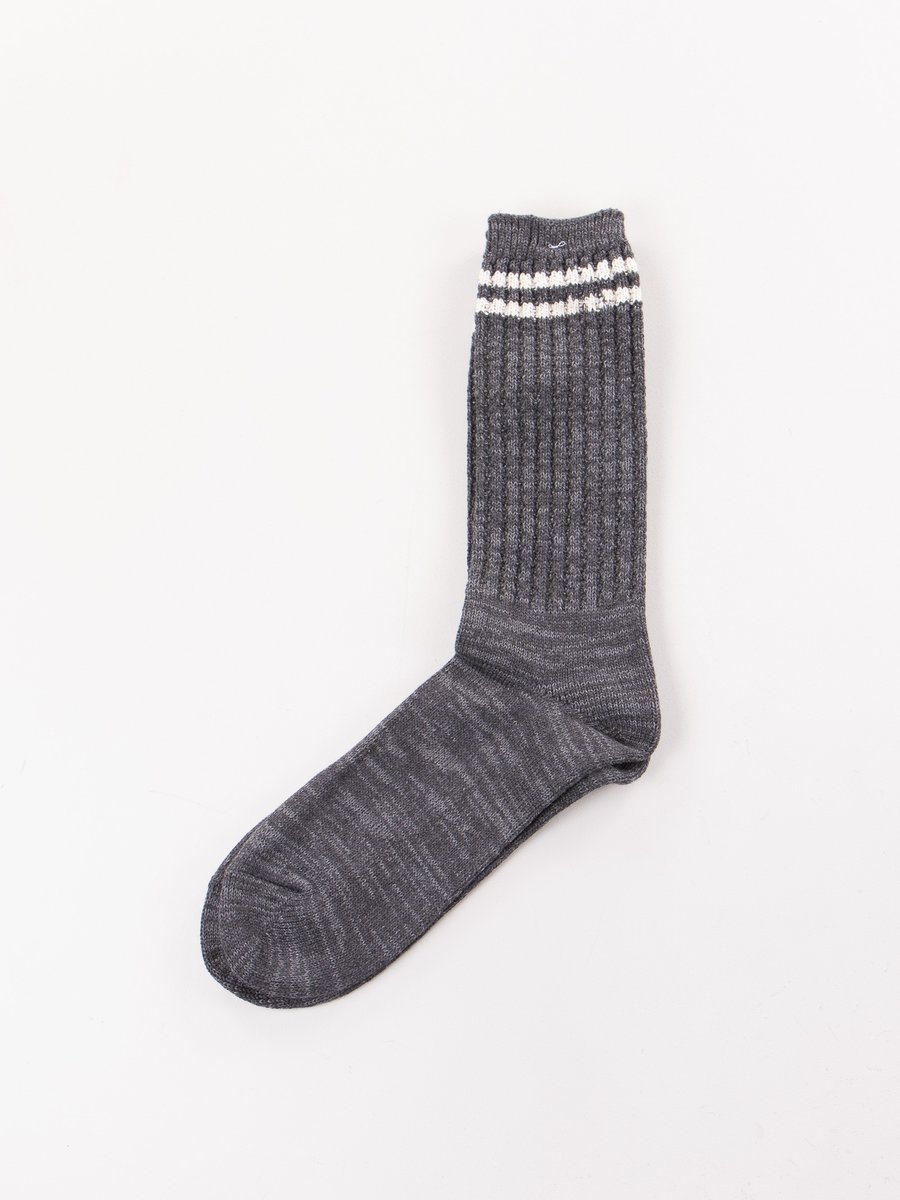 Charcoal 2 Stripe Crew Socks