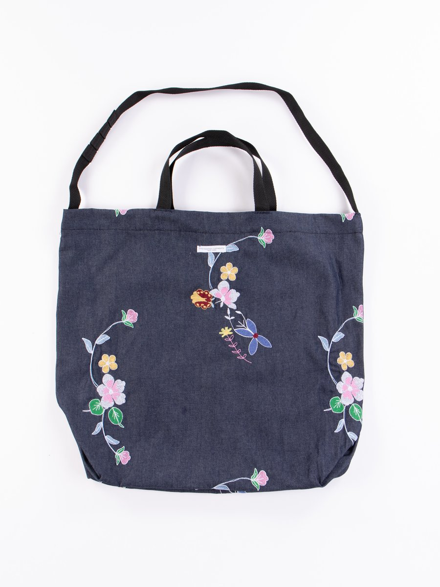 Indigo Denim Floral Embroidery Carry All Tote