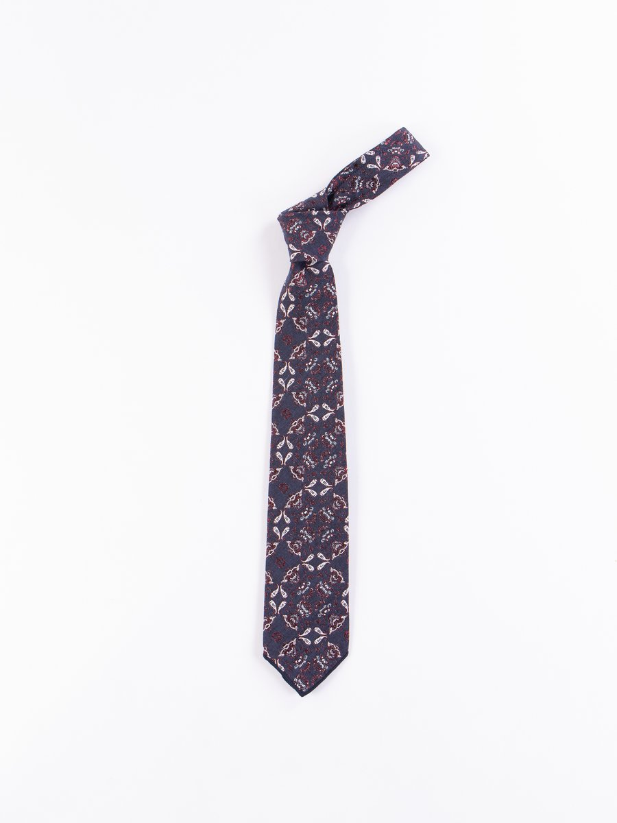 Navy/Red Polyester Small Floral Jacquard Neck Tie