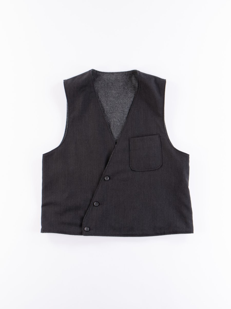 Charcoal Worsted Wool Gabardine Reversible Vest